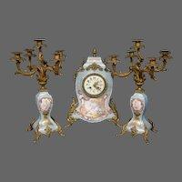 Sevres French porcelain bronze mounted antique mantle clock set woman cupids artist signed candelabras