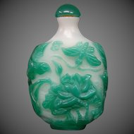 Peking cameo glass snuff bottle jade alabaster lotus butterfly rooster bird