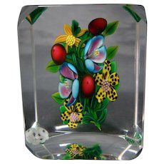 Ken Rosenfeld American art glass floral paperweight signed