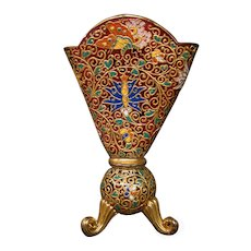 Moser art glass multicolored enameled gilded three footed fan vase butterflies flowers