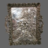 Antique silverplate ornate high relief card tray receiver man woman dog