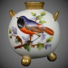 Royal Worcester hand painted miniature bird vase handled ball form
