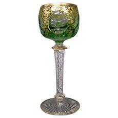 Moser green enameled gold floral airtwist stem goblet
