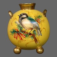 Royal Worcester hand painted yellow miniature bird vase handled ball form