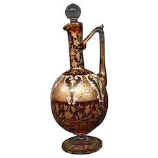 Moser antique art glass cranberry platinum enameled floral cruet