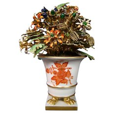 Herend porcelain Chinese Bouquet orange rust enamel flowers vase urn Jane Hutcheson