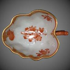Herend porcelain Chinese Bouquet orange rust handled leaf dish bowl