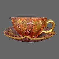 Antique Moser cranberry enameled gilded art glass cup saucer lobed form