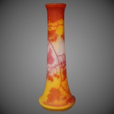 Emile Galle French cameo glass tall red orange berries leaves vase