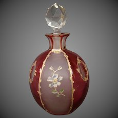 Antique enameled gilded floral art glass perfume bottle cranberry frosted panels