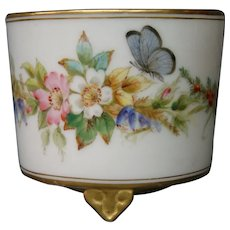 Royal Worcester hand painted miniature dragonfly butterfly floral vase