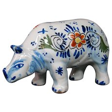 Delft pottery signed rhinoceros figure figurine