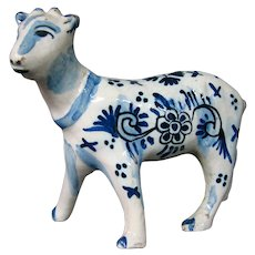 Delft pottery signed calf figure figurine