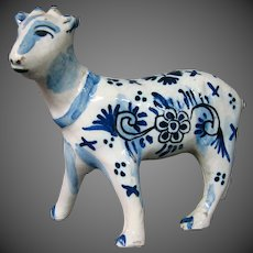 Delft pottery signed calf figure figurine