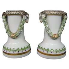Antique Meissen porcelain pair rams head candlesticks vases
