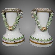 Antique Meissen porcelain pair rams head candlesticks vases