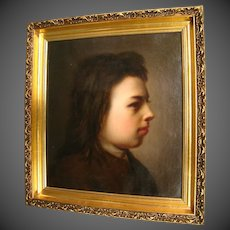 Antique portrait oil painting boy girl mid to late 1800's