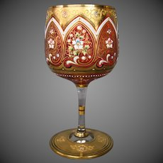 Moser antique enameled gilded floral art glass goblet islamic influence