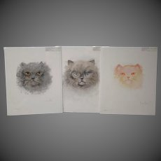 Leonor Fini set of three cat lithographs signed numbered