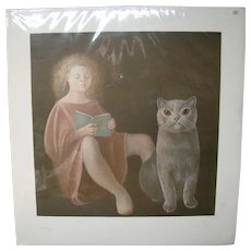 Leonor Fini L'eleve student girl reading with cat signed numbered surrealist lithograph