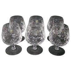 Rogaska Gallia crystal brandy glasses goblets etched set of six