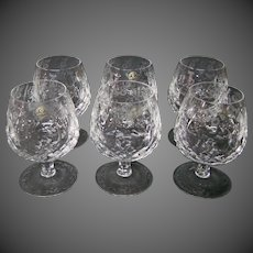 Rogaska Gallia crystal brandy glasses goblets etched set of six