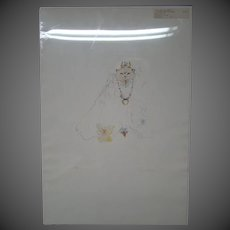 Leonor Fini cat queen with necklace signed numbered  lithograph