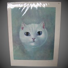 Leonor Fini white cat chat blanc signed numbered  lithograph