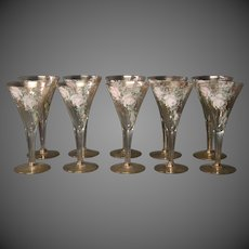 Tall enameled roses gilded set of ten water wine goblets