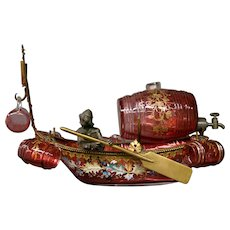 Antique Moser cranberry enameled gilded man in boat liquor decanter glasses set RARE