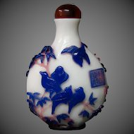 Peking cameo glass snuff bottle triple overlay eagle birds branches