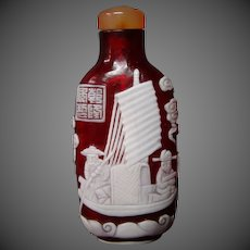 Peking cameo glass snuff bottle fisherman in boat ruby glass