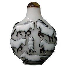 Peking cameo glass snuff bottle twelve horses triple overlay deep cutting