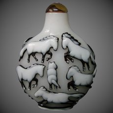 Peking cameo glass snuff bottle twelve horses triple overlay deep cutting