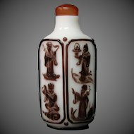Peking cameo glass snuff bottle eight immortals unusual diamond shape form