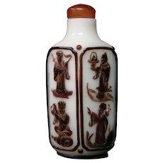 Peking cameo glass snuff bottle eight immortals unusual diamond shape form