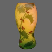 Legras French cameo glass vase holly leaves berries internal mottling signed