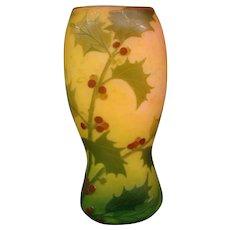 Legras French cameo glass vase holly leaves berries internal mottling signed