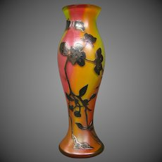 Antique rainbow art glass silver overlay floral vine vase