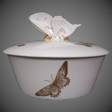 Spode bone china butterfly covered dresser jar box figural finial