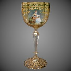 Moser Lobmeyr quatrefoil tall enameled beaded goblet courting scenes airtrap stem
