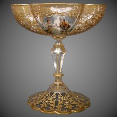 Moser Lobmeyr quatrefoil enameled beaded goblet courting scenes airtrap stem