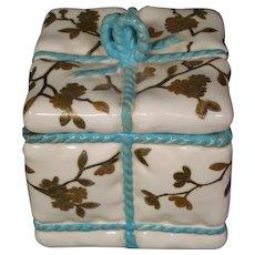 Antique porcelain bowknot box turquoise raised gold decoration