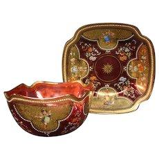 Antique Moser art glass enameled gilded cranberry cupid fingerbowl underplate set