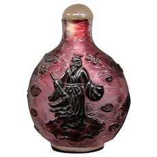 Peking cameo glass snuff bottle elders lotus flowers fishscale background cutting
