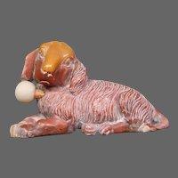 Carved soapstone figural rabbit or dog snuff bottle