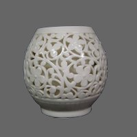 Grainger Worcester double wall reticulated openwork floral scroll vase