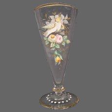 Victorian enameled bird roses flowers miniature fan vase