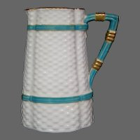 Royal Worcester turquoise white basketweave pitcher creamer late 1800's