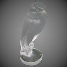 Sevres French crystal eagle bird figurine sculpture signed
